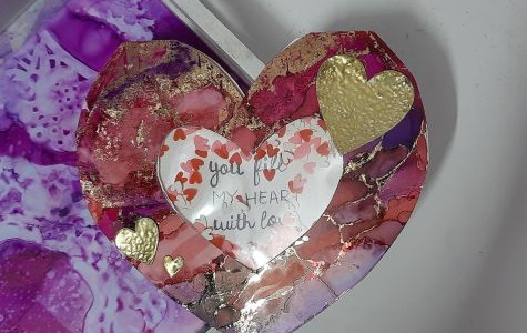 Shaker Heart card using Shilpi Alcohol inks and Shilpi Adorn Trasnfer foils by Shilpa Limje